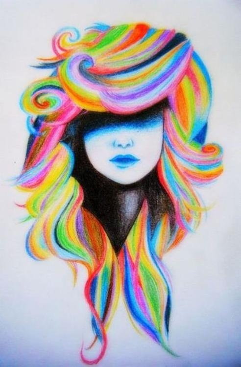 Drawn rainbow draw Rainbow rainbow girl hair Google