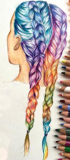 Drawn rainbow faded Fun ~ hair!! ellithepenguin #rainbow
