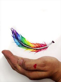 Drawn rainbow faded Photos) art Feather Dopamine Rainbow