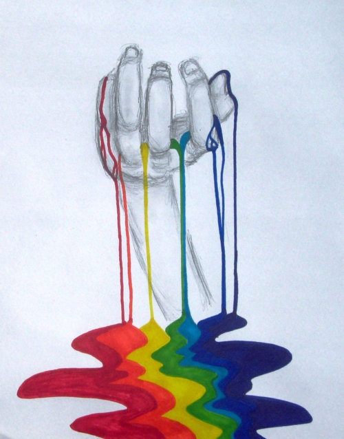 Drawn rainbow half Light  hand more Drawing