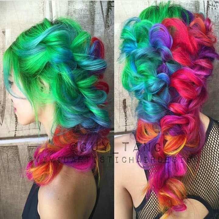 Drawn rainbow half Hair Rainbow hair colour hair