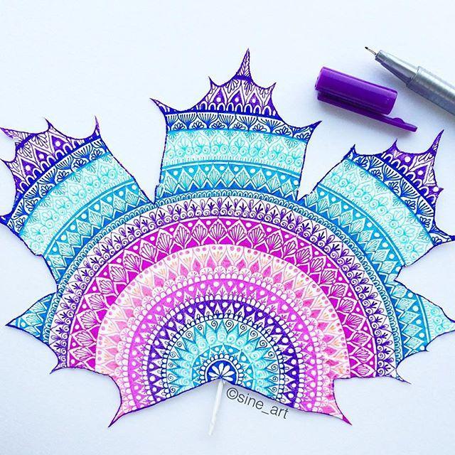 Drawn rainbow illustration DrawingPen Purple real leaf Rainbow