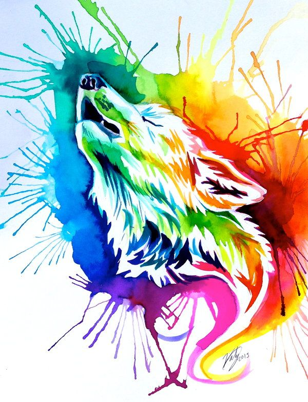 Drawn rainbow painted Wolf Watercolor Pinterest on best