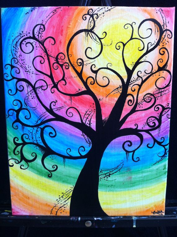 Drawn rainbow painted  Water Color Pinterest Tree11x14