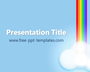 Drawn rainbow powerpoint templates Blue Free appropriate templates image