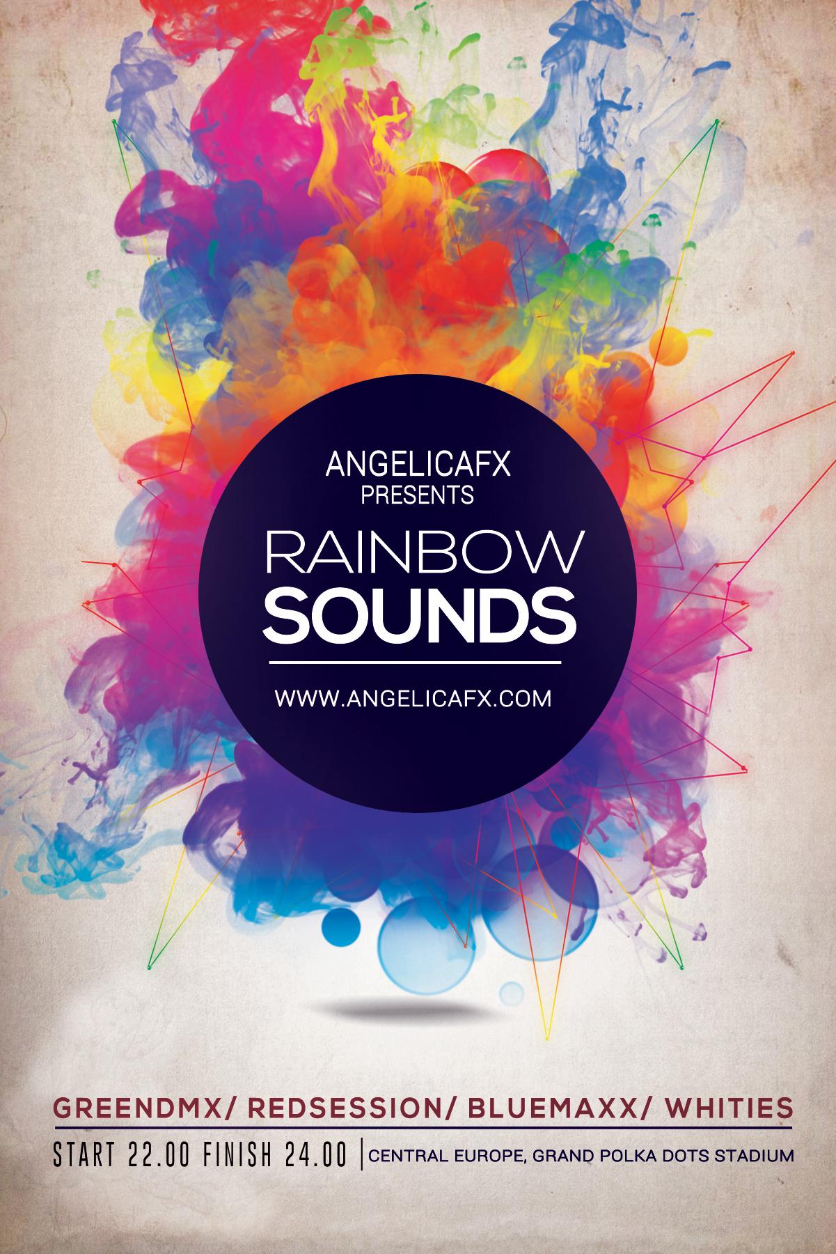 Drawn rainbow psd Net TEMPLATE PSD FLYER/POSTER SOUNDS