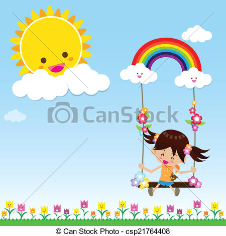 Drawn rainbow sun clipart The and playing swing rainbow