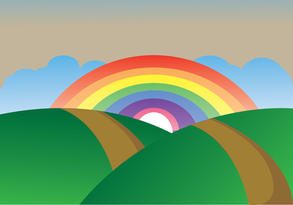 Drawn rainbow the sky Landscape simple  vector download
