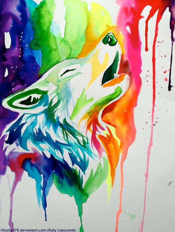 Drawn rainbow watercolor painting WolfWatercolor rainbow Rainbow on AnimalsRainbow