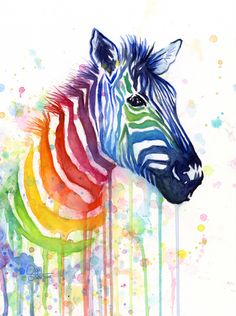 Drawn rainbow watercolor painting Inspirestudiogallery Zebra Hare Etsy by
