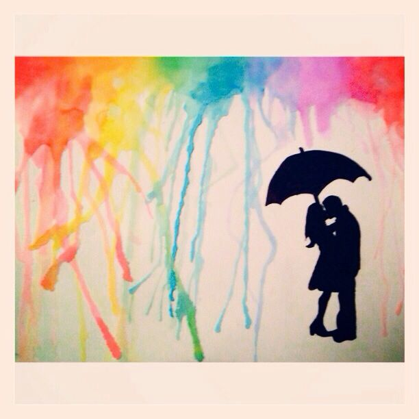 Drawn rainbow watercolor painting 63 Silhouette images #couple simple