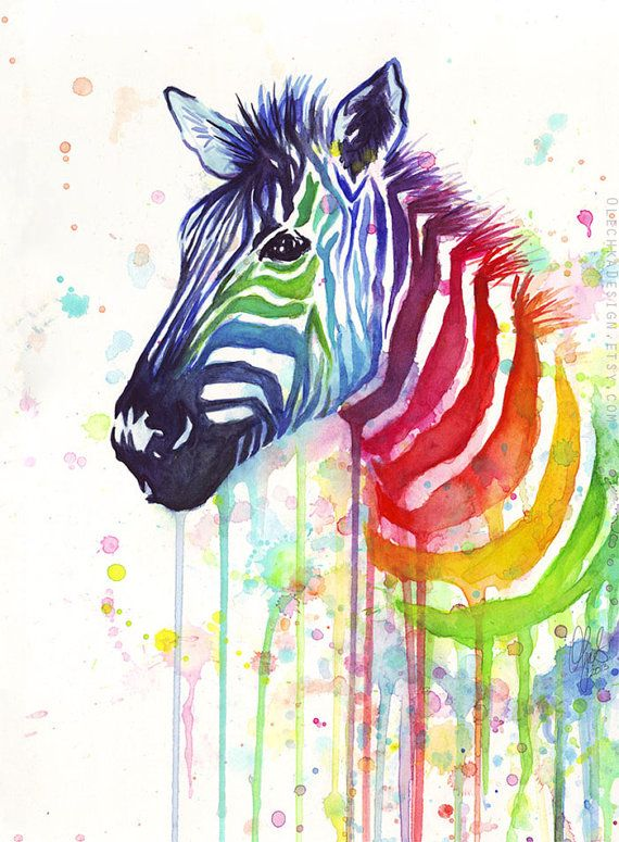 Drawn rainbow watercolor painting Home Zebra ideas to Best