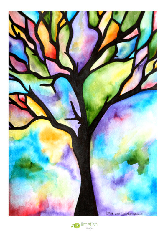 Drawn rainbow watercolor painting TO MADE Colorful Hues Watercolor