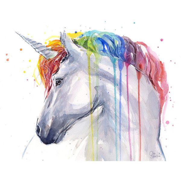Drawn rainbow watercolor painting Unicorn Colorful Unicorn ❤ Horse