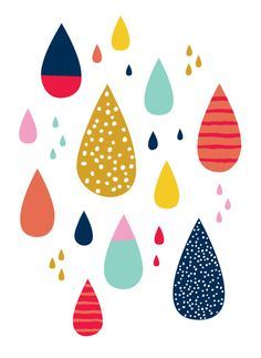 Drawn raindrops color By doodles and Patterns Prints
