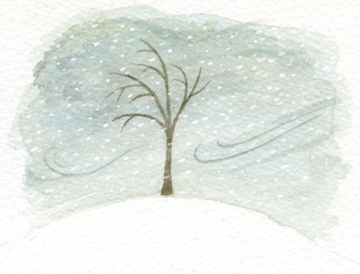 Drawn raindrops tree And pummeled the earth but