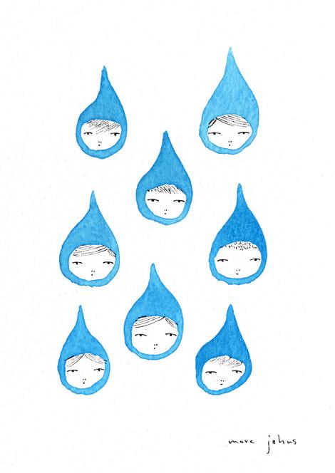 Drawn raindrops watercolor Sketch white marc marc faces