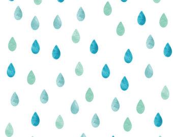 Drawn raindrops watercolor Etsy Raindrop Decals Fabric Wall