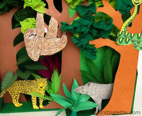 Drawn rainforest collage ks2 Step 8 Diorama Habitat FirstPalette