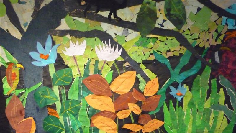 Drawn rainforest collage ks2 Henri rousseau to kids henri