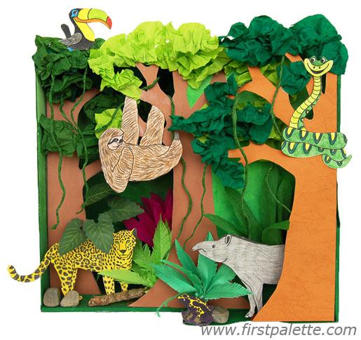 Drawn rainforest collage ks2 Rainforest Habitat Kids' Rainforest Habitat