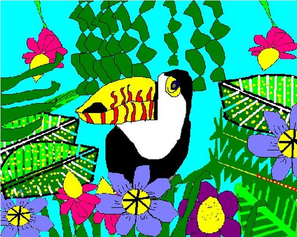 Drawn rainforest collage ks2  toucan14 2015 Class Blog!