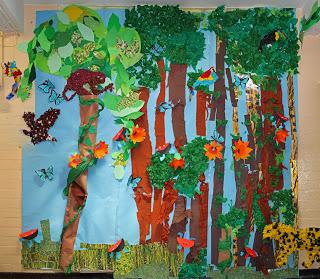 Drawn rainforest collage ks2 Rainforest Collage theme Collage Ecosystems