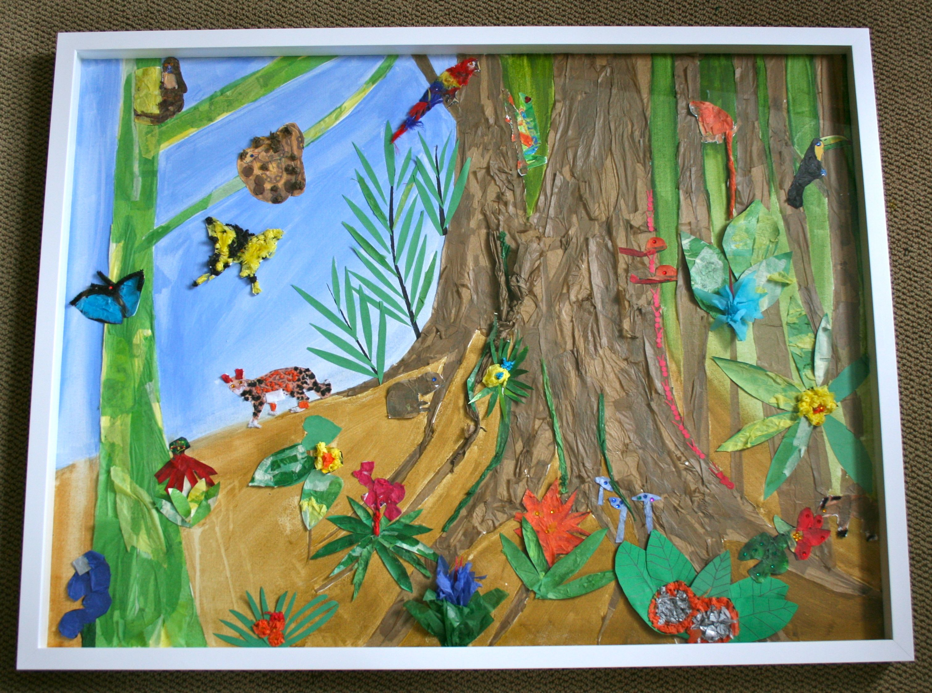 Drawn rainforest collage ks2 1st grade collage collage project