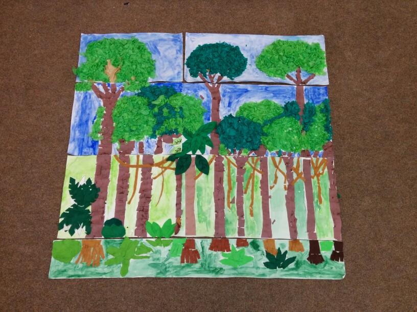 Drawn rainforest collage ks2 Collage rainforest Pinterest Collage rainforest