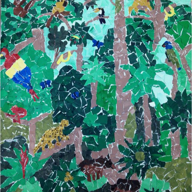 Drawn rainforest collage ks2 Rainforest Collage tempura on torn