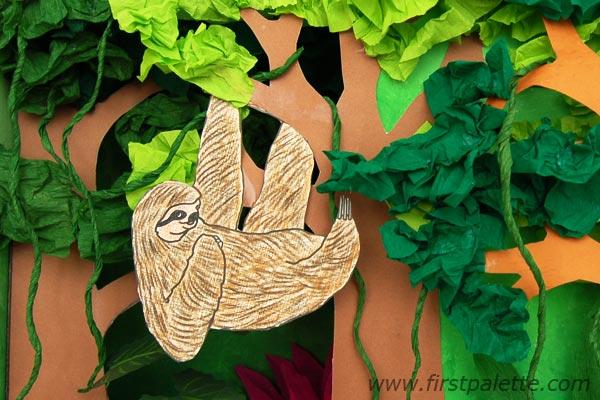 Drawn rainforest collage ks2 Step 9b Diorama Habitat FirstPalette