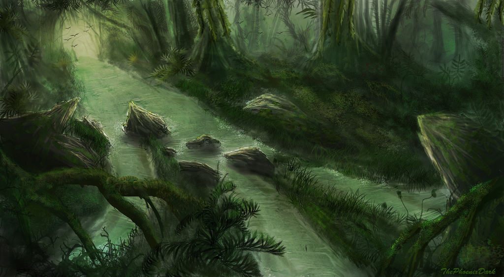 Drawn rainforest digital painting Jungle River River by JKRoots