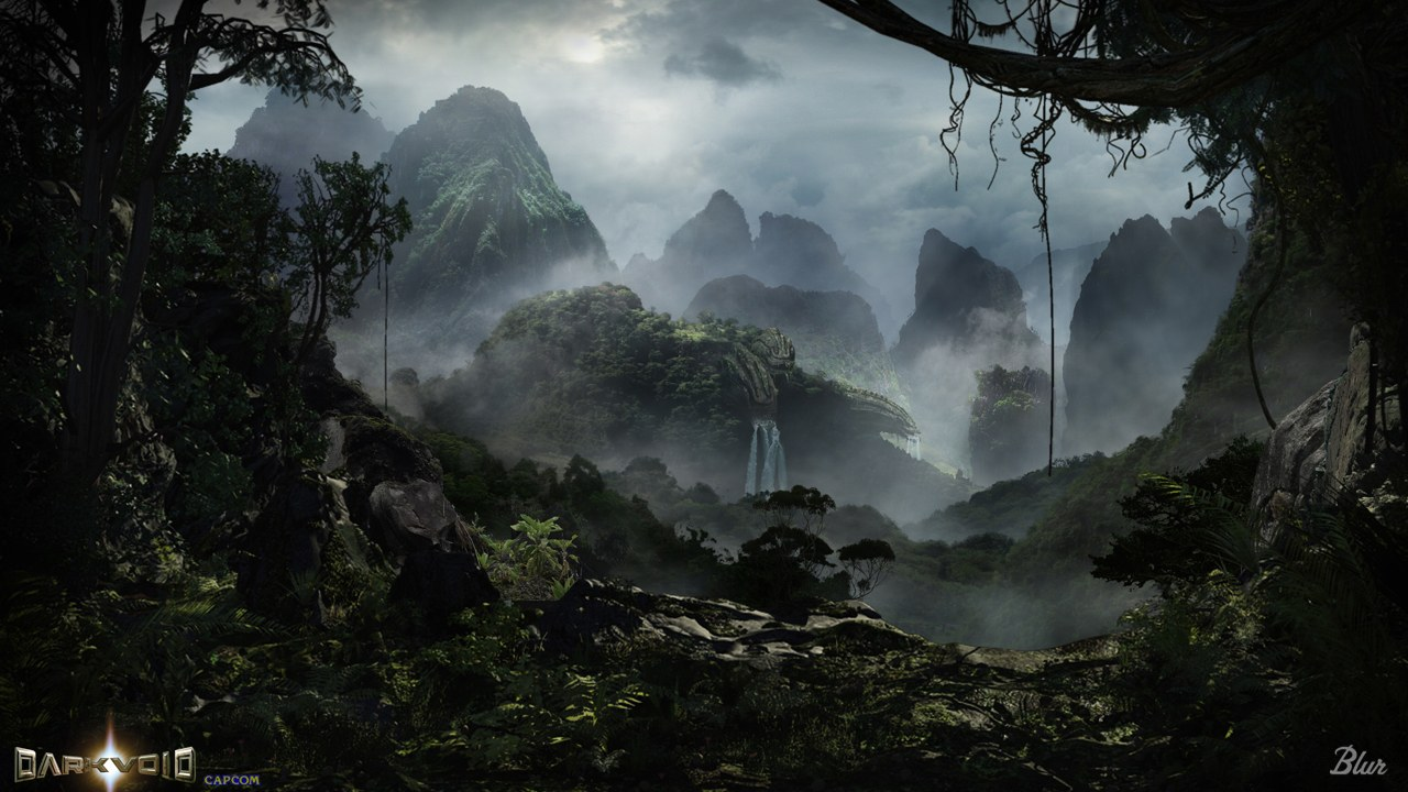 Drawn rainforest digital painting Artistique matte d'inspiration Art Halo_Wars__shield_world_Matte_by_JJasso