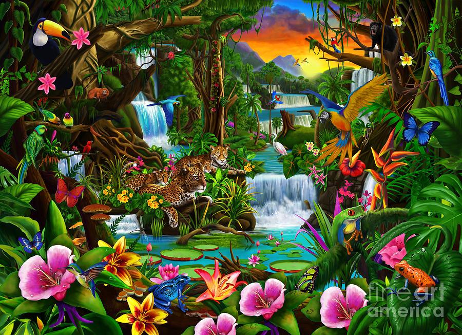 Drawn rainforest digital painting Newton Art Rainforest Gerald Beautiful