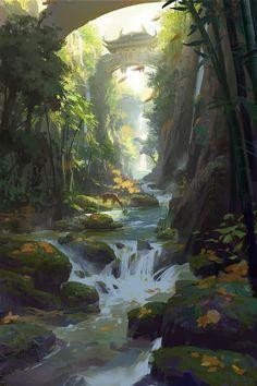 Drawn rainforest digital painting Art Concept Search concept Google