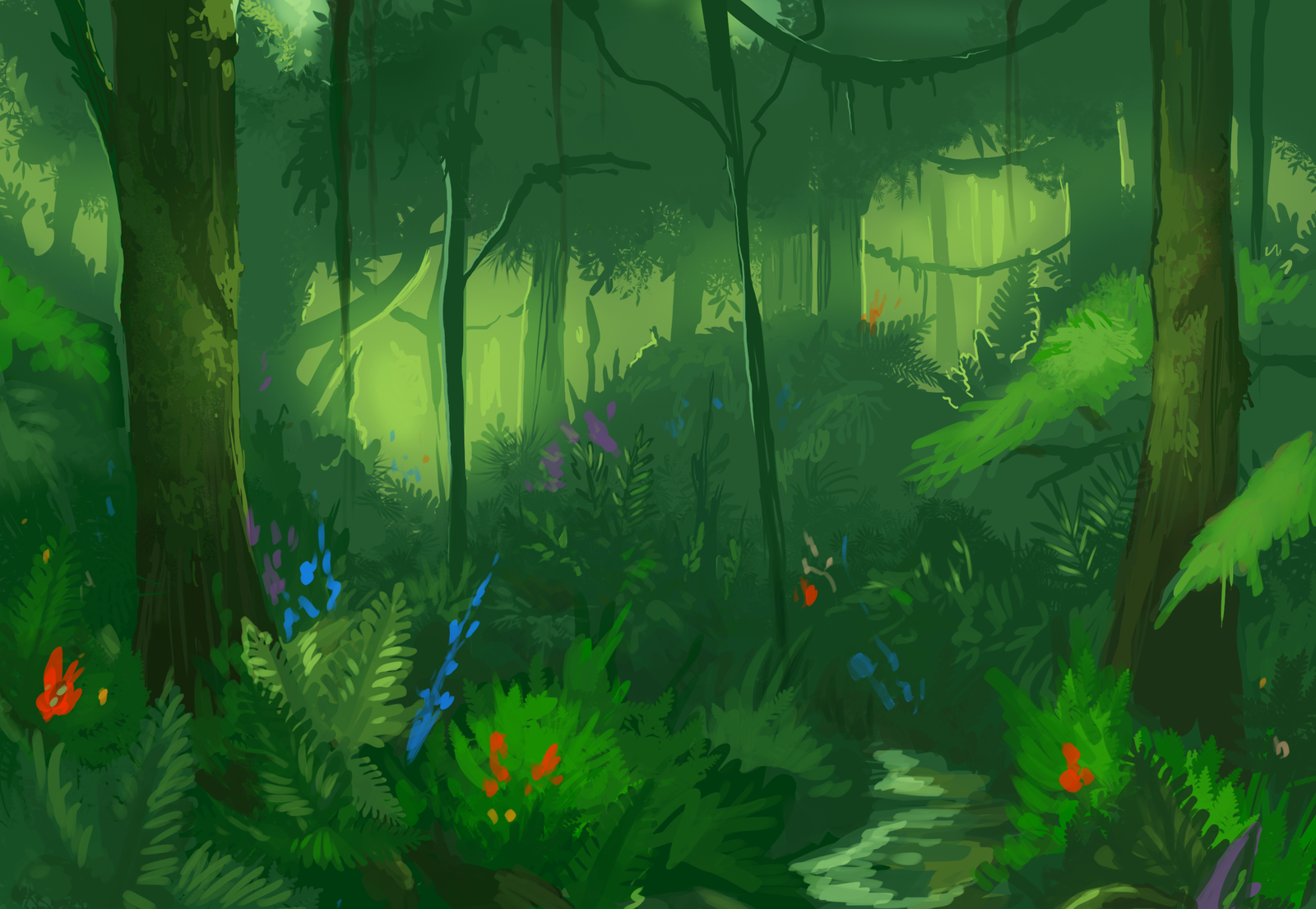 Drawn rainforest digital painting Rainforest by Study Study by