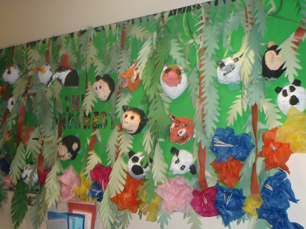 Drawn rainforest display ks2 Search displays Google Animales