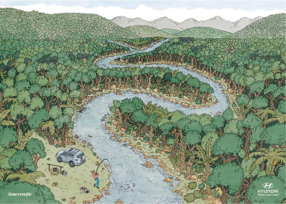 Drawn rainforest forest river The rainforest The Hyundai Drawing