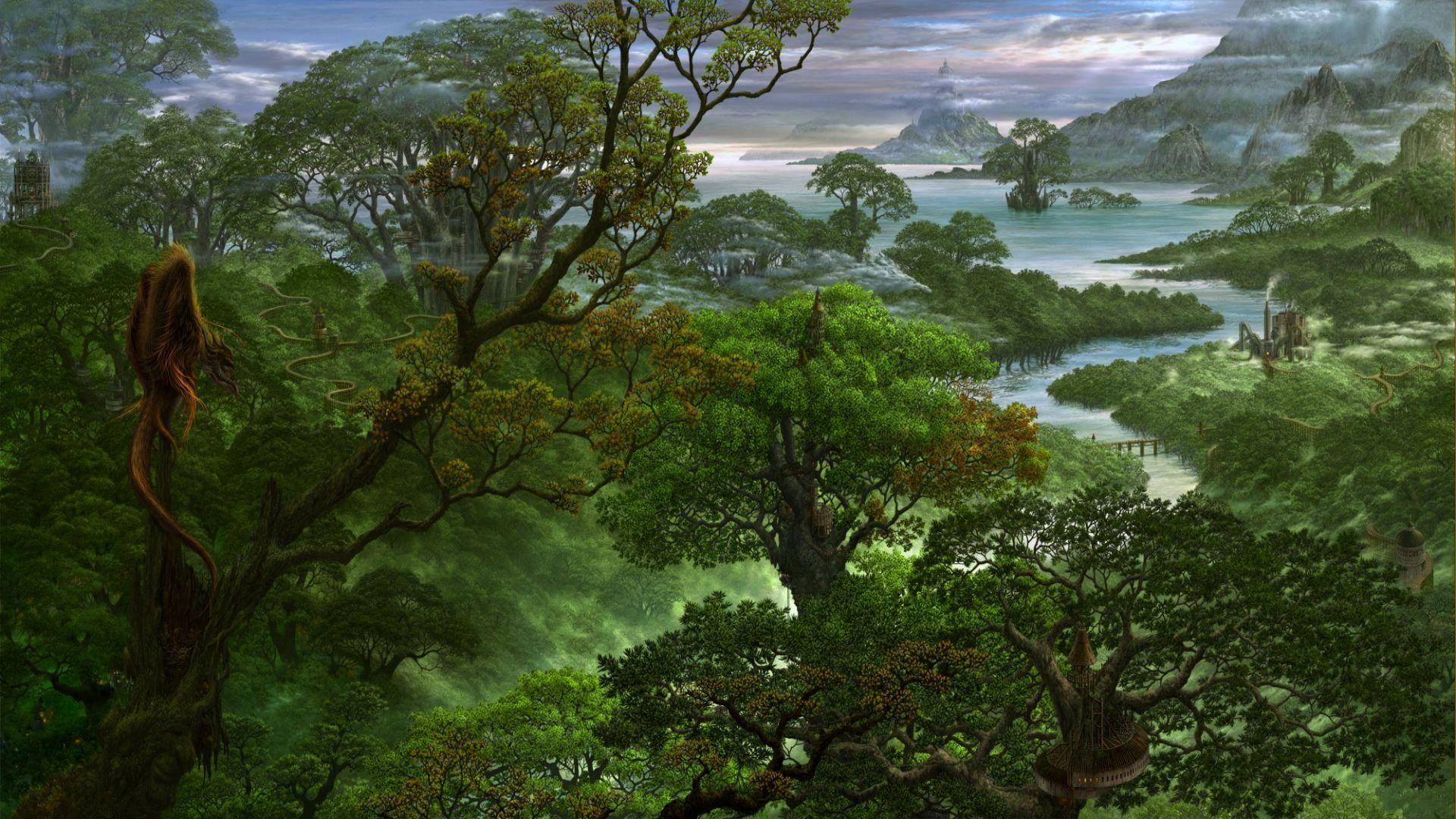 Drawn rainforest jungle landscape Art jungle wallpaper Fantasy wallpaper