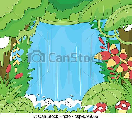 Drawn rainforest jungle scenery An csp9095086 Scene Clip