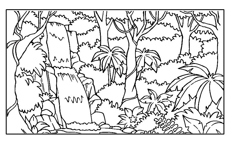 Drawn rainforest jungle scenery 1 Color Jungle Coloring Rainforest