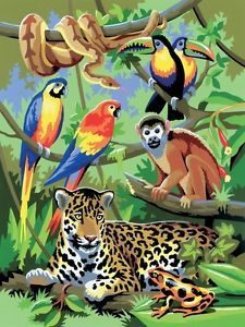 Drawn rainforest painting Plants!!! Numbers Scene by Animals