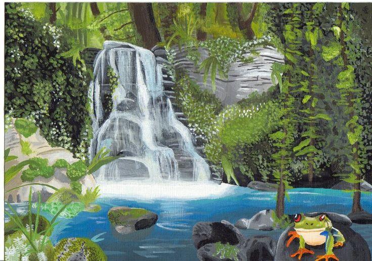 Drawn rainforest rainforest waterfall Rainforest paintings images ~georgina12345 by
