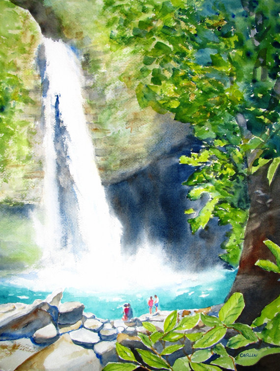 Drawn rainforest rainforest waterfall Costa Painting  room Watercolor
