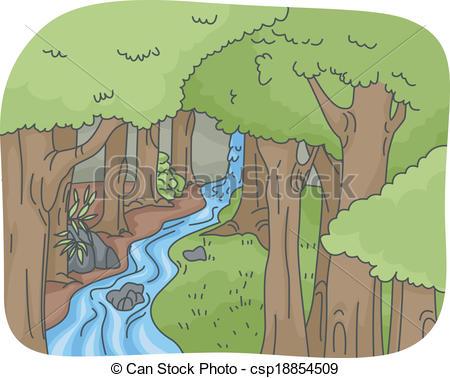 Drawn rainforest rainforest waterfall Clip Art Clip Clipart –
