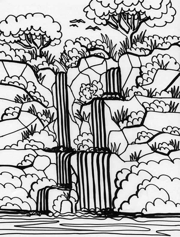 Drawn rainforest rainforest waterfall Rainforest 4 Rainforest Page Coloring
