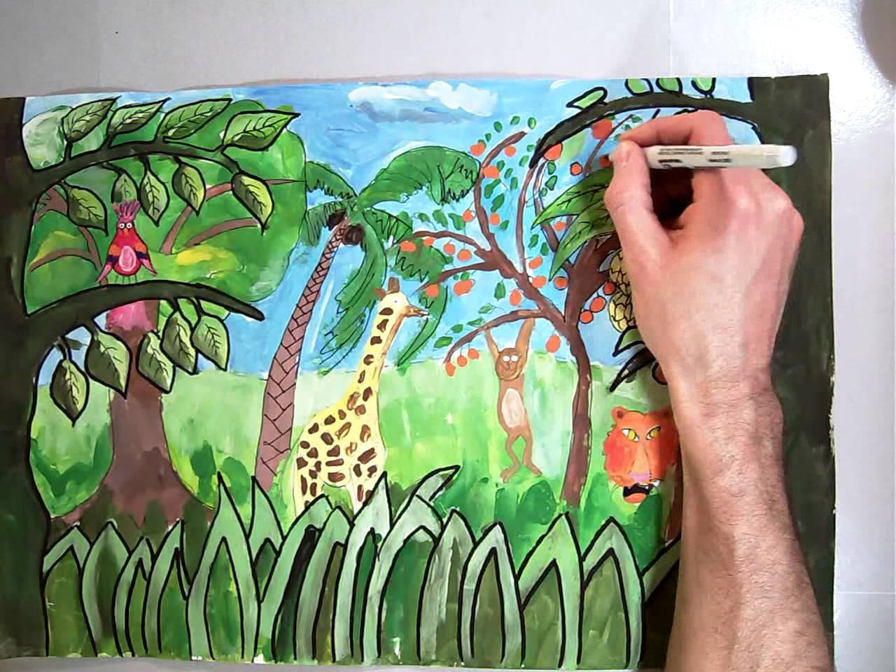 Drawn rainforest rousseau Rousseau Painting for YouTube Sharpie
