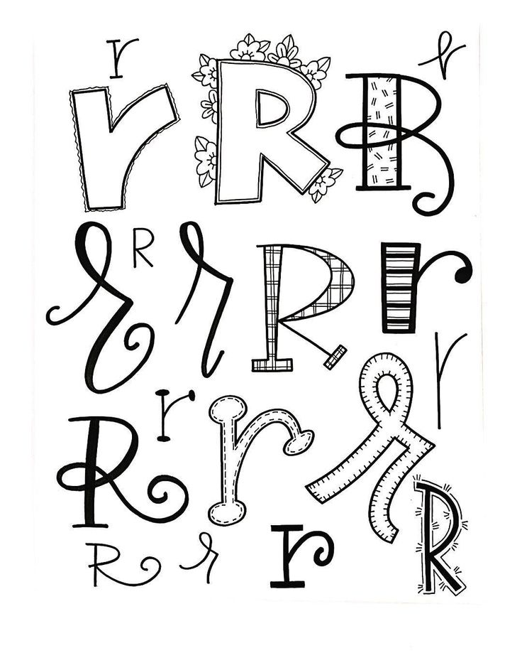 Drawn randome character Letter R on 64 Doodle