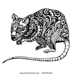 Drawn rat headed Ornaments and by drawing of