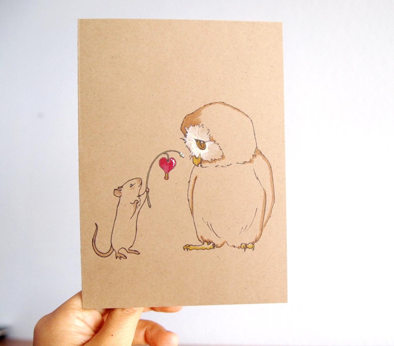 Drawn rat i love you Day Hand i i owl